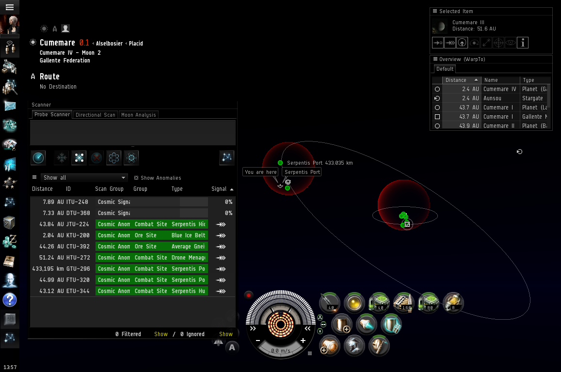 Results in the scanner and solar system map
